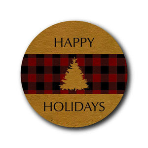 Other - buffalo plaid christmas stickers Happy Holidays